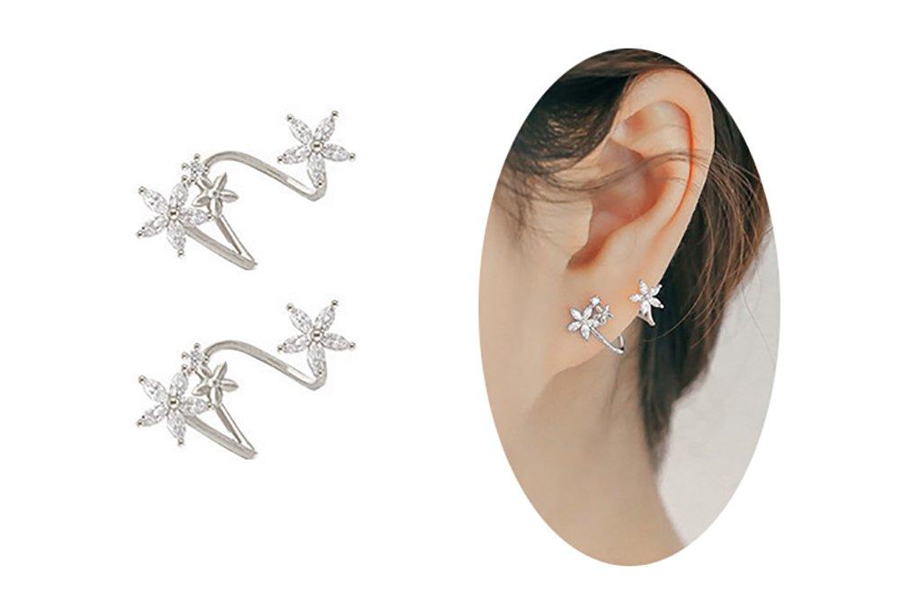 Amaer Hypo Allergenic Daisy Studs Earrings for Women Flowers Wrap Earrings Cuff
