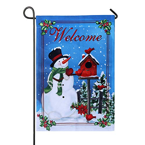 18 Team Snowman (UPmagic Winter Garden Flag, Double Sided Snowman Welcome/Let It Snow Garden Flags for Christmas Holly Decorative House Yard Winter Holiday Flag, Small (12 × 18) Inches)