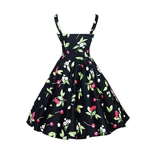 6d70a19eb Botomi Women  s vintage años 50 Hepburn Classique cereza vestido patrón  swing Brace
