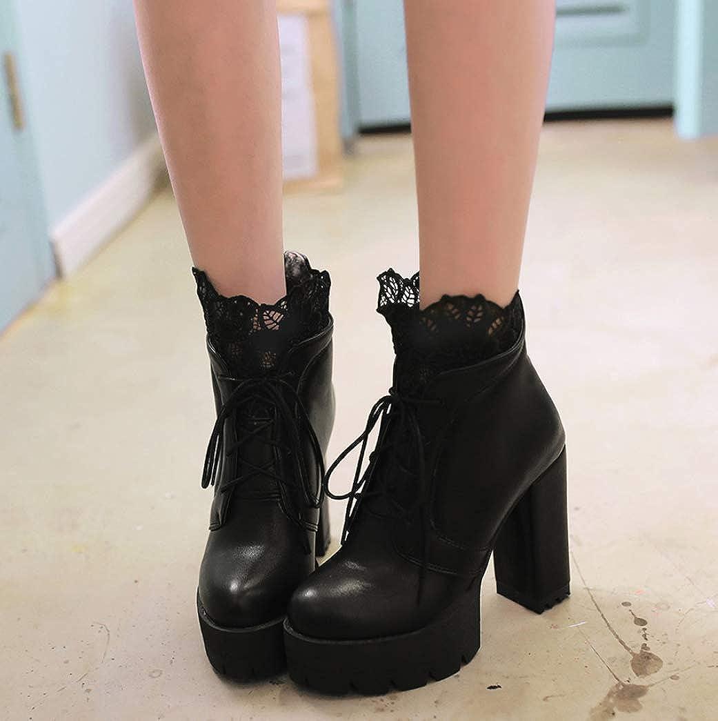 Nafanio Womens High Heels Ankle Boots Classic Punk Back Zip Lace up Platform Block Chunky Heel Short Booties