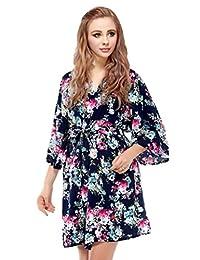 Skyfitting Women's Kimono Robe, Short Length Soft Cotton Bridesmaid Robes