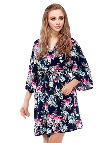 Skyfitting Women's Floral Kimono Bathrobe, Short Soft Cotton Bridesmaid Robes Regular Size / 36