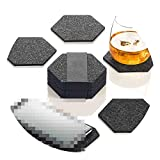 12pcs Felt Fabric Tableware Hexagon Round Cup Mat Phone pad Storage Box Set Drink Coasters Beer Coffee Placemat Table Decor,A1
