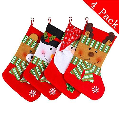 Christmas Stockings Decoration - 4 Pcs Set (Snowman Elk Bear Santa Claus) Party Fireplace Toys Stockings Decor (15 Inch)