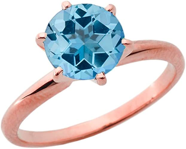 Elegant 14k Rose Gold 3ct December Birthstone Solitaire Engagement Ring Amazon Com