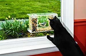 "Wind & Weather, One-Way Mirror Bird Feeder, Easy to Fill and Clean, Suction Cup Attachment, View Birds Closely, Holds Approximately One Pound of Bird Seed, 13¾""L x 5¾""D x 7¾""H"