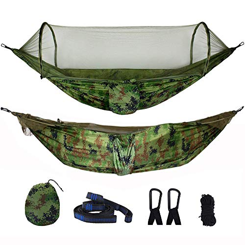 Living Express Hammocks with Mosquito Net – Portable Camping Hammock Tent with Tree Straps – Anti-Mosquito Parachute Hammock for Backpack, Outdoor, Hiking
