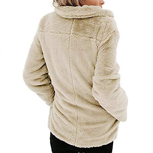 Winter Long Women's Sleeve Warm Beige Coat Open Outerwear Front Fleece Pocket with XOWRTE Jacket 0B1qwg0