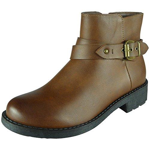 Damen Schnalle Gurt Klobig Knöchel Chelsea Stiefel Größe 36-41 Kamel