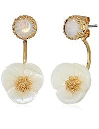 Lonna & Lilly Gold-Tine and White Flower Filter Earrings Jacket