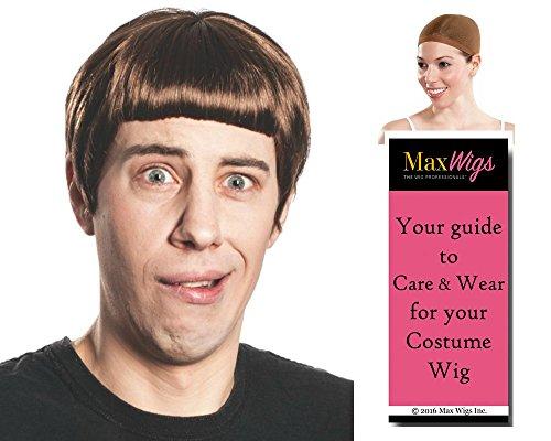 Lloyd Dumb Dumber color BROWN - Enigma Wigs Bowl Cut Jim Mens Carrey Movie Christmas Bundle w/Cap, MaxWigs Costume Wig Care Guide