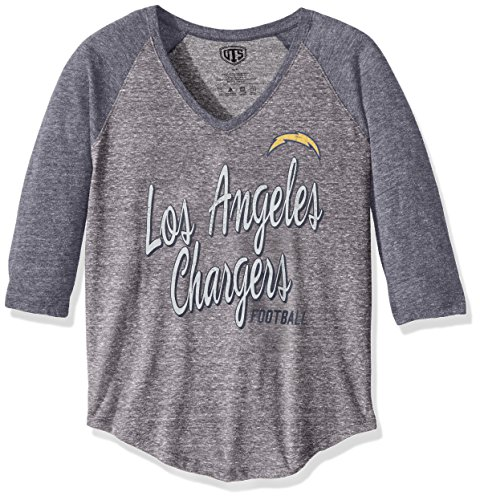 OTS NFL Los Angeles Chargers Women's Triblend Raglan Distressed Tee, Medium, Vintage Grey