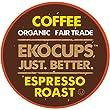 EKOCUPS Artisan Organic EspressoDark Roast Coffeein Recyclable Single Serve Cups for Keurig K-Cup Brewers, 20 Count