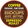 EKOCUPS Artisan Organic Espresso Dark Roast Coffee in Recyclable Single Serve Cups for Keurig K-Cup Brewers, 40 Count