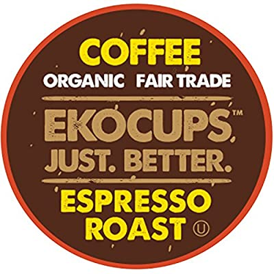 EKOCUPS Artisan Organic Espresso Dark Roast Coffee in Recyclable Single Serve Cups for Keurig K-Cup Brewers, 20 Count