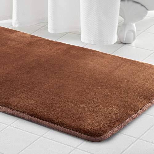 Genteele Memory Foam Bath Mat Non Slip Absorbent Super Cozy Velvet Bathroom Rug Carpet (17 inches X 24 inches, Brown)