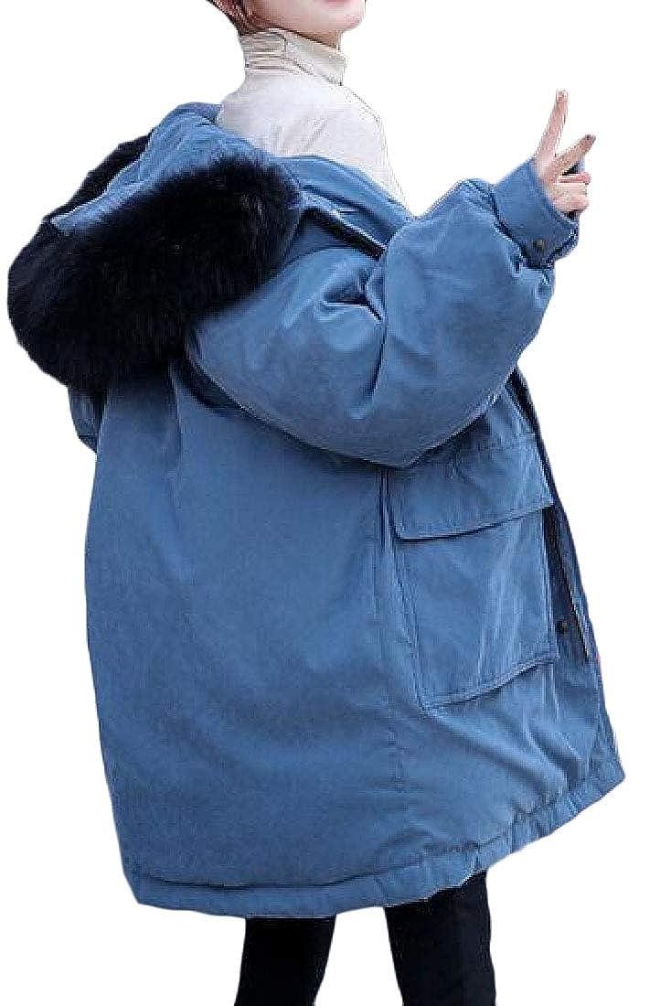 1 jxfd Women Winter Down Coat Faux Fur Hooded Puffer Parka Outerwear