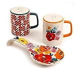 #5: The Pioneer Woman Flea Market Stoneware Floral Spoon Rest & Salt And Pepper Set (1)