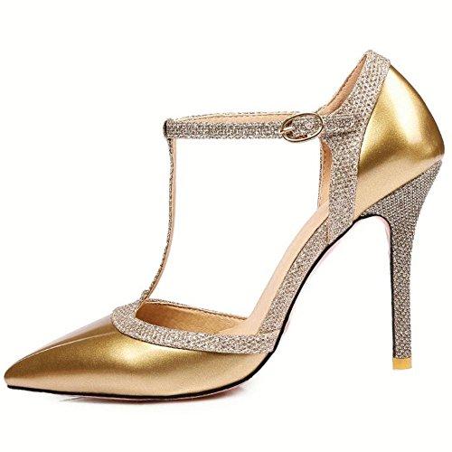 RAZAMAZA Chaussures Gold Escarpins Talons Salomes Femmes Aiguille 1qxg1rX