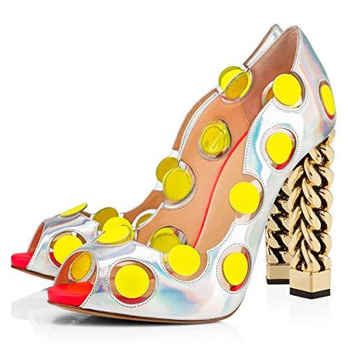 FSJ Women Chic Peep Toe Thick Metallic Chain Heels Pumps Platform Slip On Patent Cocktail Party Dress Shoes Size 11 - Metallic Dots Pump