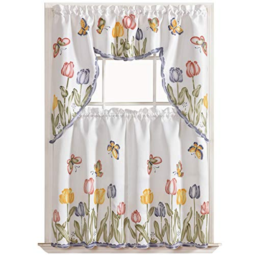 GOHD - Tulip Vigor 3pcs Kitchen Curtain/Cafe Curtain Set, Air-Brushed by Hand of Tulip & Butterfly Design on Thick Satin Fabric