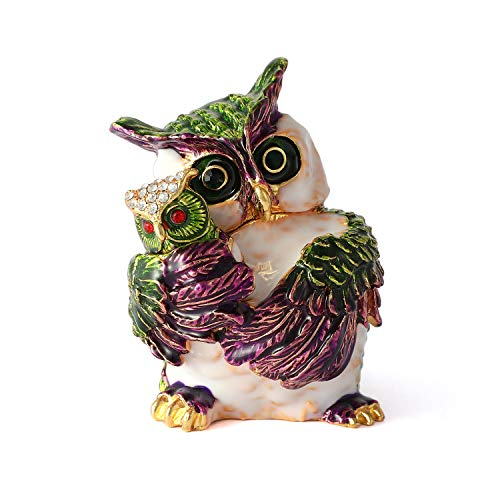 QIFU Owl Series-Hand Painted Jewelry Trinket Box with Rich Enamel and Sparkling Rhinestones | Unique Gift Home Decor | Best Easter Day Collectible