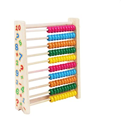 Wooden Abacus Beads Wooden Toys Cognitive Learning Shelf Math Educational Toys,Math Toys for preschoolers: Toys & Games