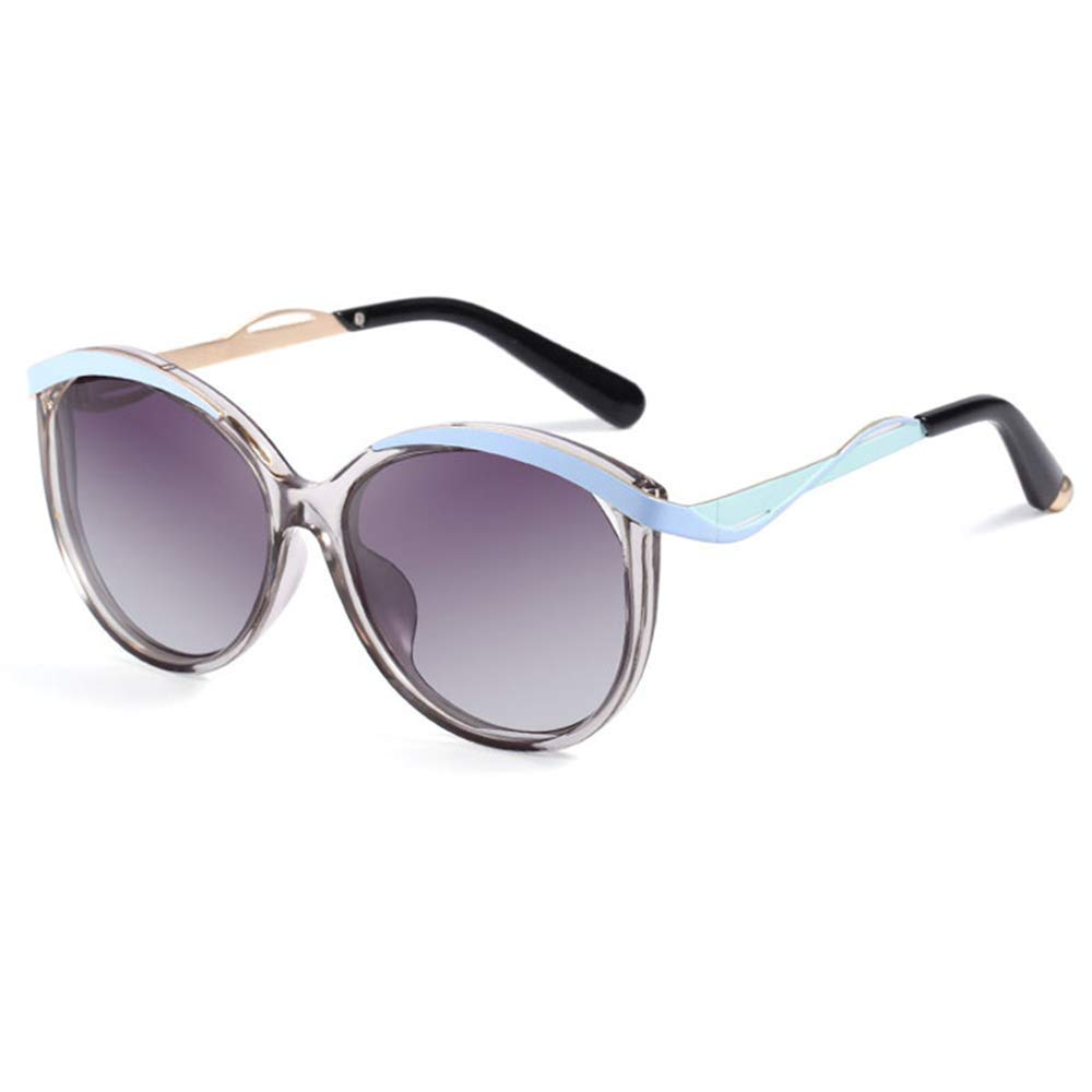 Transparent bluee XINGZHE Sunglasses  Polarized, Stylish Round Frame, Ladies Driving, Shopping Street Shooting, 4 colors to Choose from Sunglasses (color   Transparent Pink)