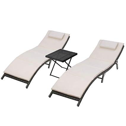 Amazon.com: Wicker Chaise Lounge Set of 3 Pieces 2 Beige ...