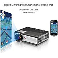 EUG LCD Video Projector 3500 Lumen Home Cinema Gaming TV Projector with HDMI USB VGA 3.5mm Audio Support 1080p Laptop DVD Player iPhone iPad Android Phone Mirroring Upgrade Version