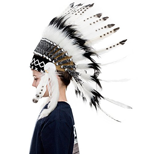 All White Indian Costume (Novum Crafts Kids Feather Headdress | Native American Indian Inspired | White)