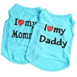 GabeFish Pets I LOVE MY MOMMY DADDY Summer Cotton T Shirt 2 Packs Dog Lovely Print Vest For Small Animal Clothes Blue Small