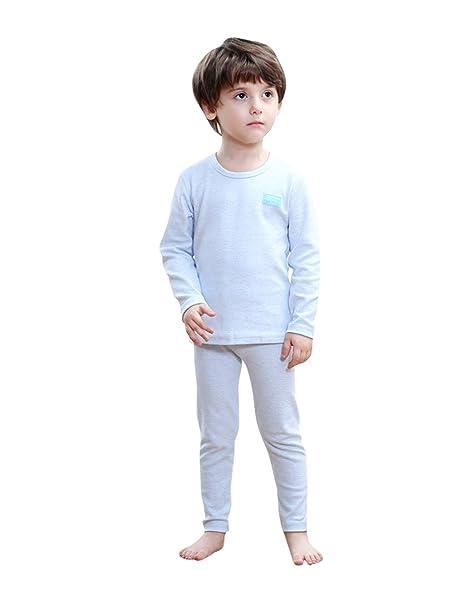 Menschwear Conjunto de Ropa Interior térmica para niños con Rayas (100CM,Azul-Claro