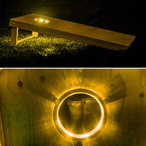 Solomone Cavalli CNL-0006-YL Set of 2 Cornhole Night Light Dadhole Corn Hole Bean Bag Toss Board Amber, Yellow
