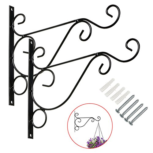 "Sumnacon Metal Plant Hanging Bracket Hook - 2 Pcs 10"" Sturdy Wall Plant Hangers Indoor Outdoor Bracket For Hanging Bird Feeders,Lanterns,Planters,Wind Chimes,Ornaments With Screws (Black)"
