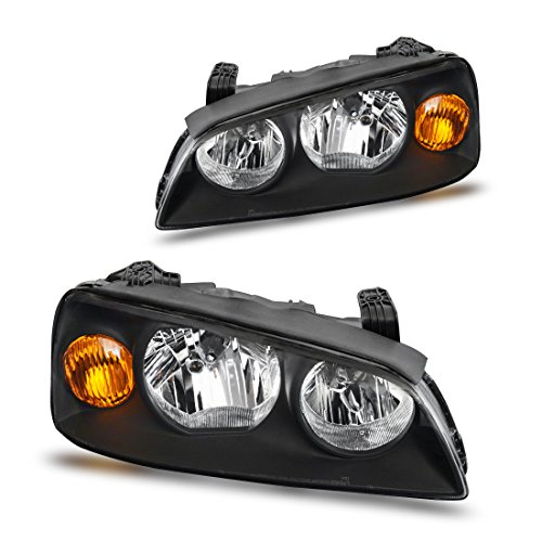 Headlight Assembly for 04-06 Hyundai Elantra Replacement Headlamp Driving Light Black Housing Amber Reflector Clear Lens ()