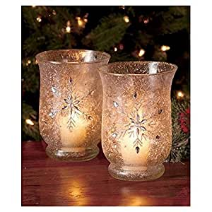 Set of 2 Elegant Frosted Snowflake Winter Jeweled Glass Candle Holders Christmas Table Top Decor
