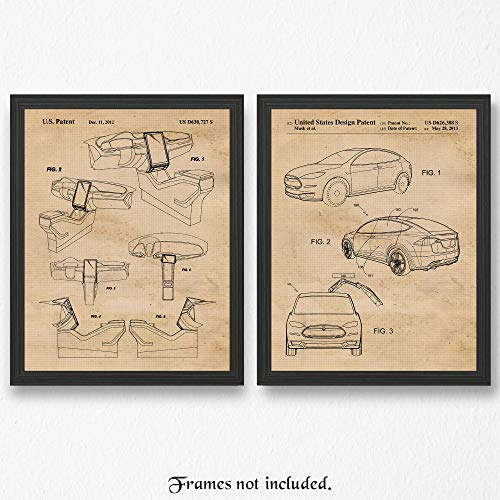 Original Tesla X + Interior Layout Patent Poster Prints - Set of 2 (Two 11x14) Unframed Pictures - Great Wall Art Decor Gift for Home, Office, Studio, Garage, Man Cave, - Mens Grid Climate