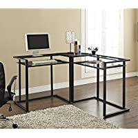 C-frame Glass & Metal L-Shaped Computer Desk - Clear/Black