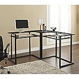 Cheap C-frame Glass & Metal L-Shaped Computer Desk – Clear/Black