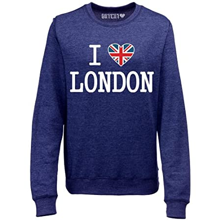 Batch1 Women's Ultimate I Love London Union Jack Heart Printed Sweatshirt Jumper 51CdrUpkYyL