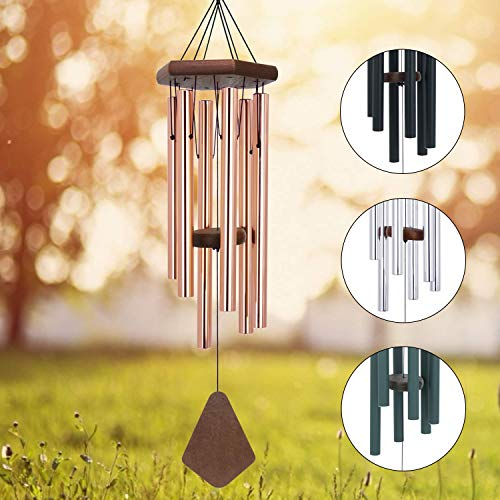 Engraved Wind Chimes - Memorial Wind Chimes Outdoor Large Deep Tone, 30 Amazing Grace Wind Chime Outdoor, Weeding Wind-Chime Personalized with 6 Tuned Tubes, Elegant Chime for Garden, Patio, Balcony and Home, Rose Golden