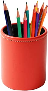 LIZIMANDU Leather Office Pencils Holder,Round Pen Cup Remote Desk Accessories Organizer Desktop Stationery Container Box for Home Office Bedroom(1 Pack,1-Red)
