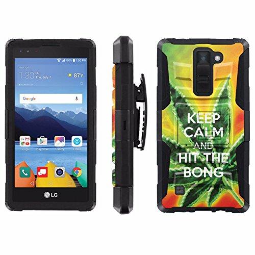cheap for discount 99031 66ada LG [K8V] Verizon Phone Cover, Keep Calm Hit the Bong- Black Blitz Hybrid  Armor Phone Case for [LG [K8V] Verizon] with [Kickstand and Holster]