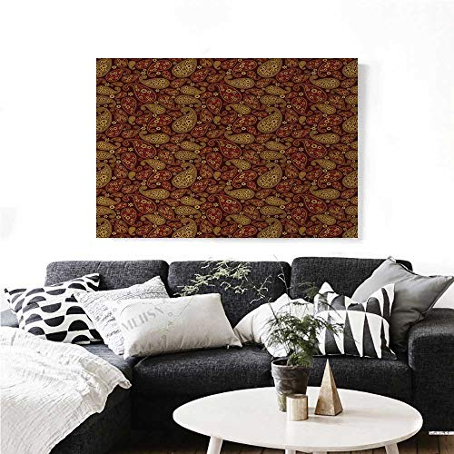 homehot Paisley Wall Paintings Oriental Damask Ethnic Leaves Middle Age Ottoman Art Inspired Boho Print On Canvas for Wall Decor 24