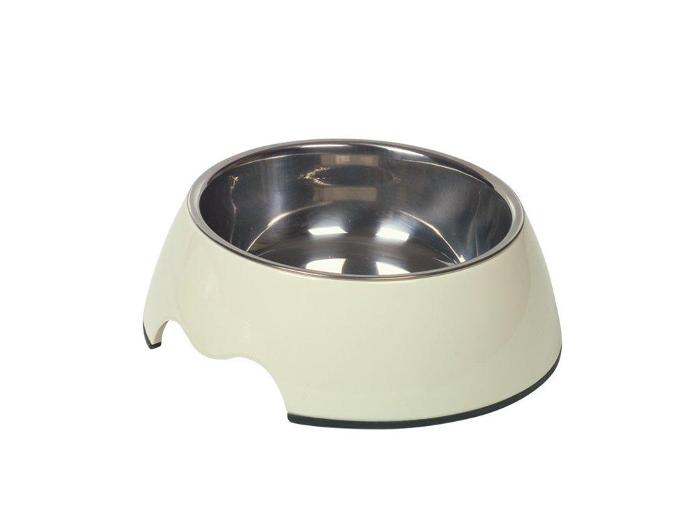 Nobby melamina/Acciaio Inox Ciotola del Cane, 17.5x 6.5cm, Colore: Crema/Bianco 73482-02