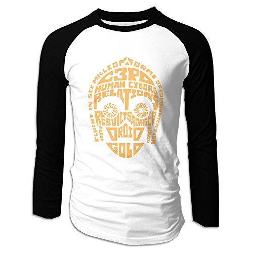 (Creamfly Mens C-3PO Quotes Long Sleeve Raglan Baseball Tshirt S)
