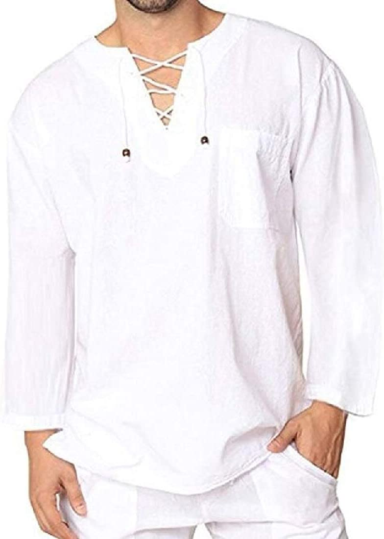UUYUK Men Abayas Linen Fashion Muslim V Neck Lace Up Long Sleeve Shirts