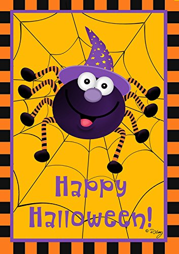Spider and Witch Hat Halloween House Flag
