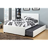 New White Bycast Leather Twin Platform Bed with Twin Trundle Bed